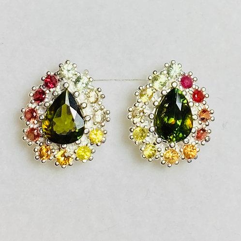1.65ct Natural Colour change Titnite Sphene Silver/ Gold/Platinum stud earrings