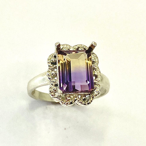 2.5cts Natural Bi-colour Ametrine 925 Silver / Gold/ Platinum solitaire ring