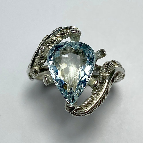 3.4ts Natural light blue aquamarine Silver/ Gold /Platinum ring
