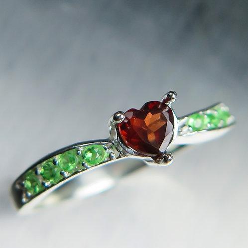 Natural Garnet Spessartines Dark Red 925 Silver/ Gold/ Platinum heart ring