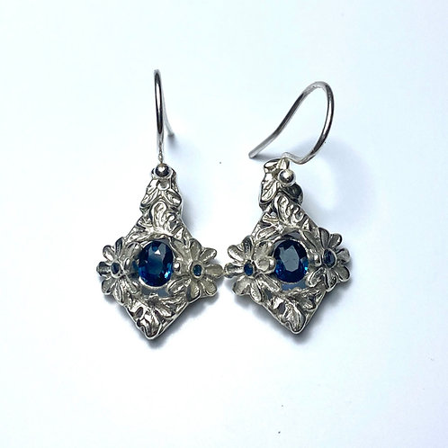 0.7ct Natural Blue Sapphire Silver /Gold floral drop earrings