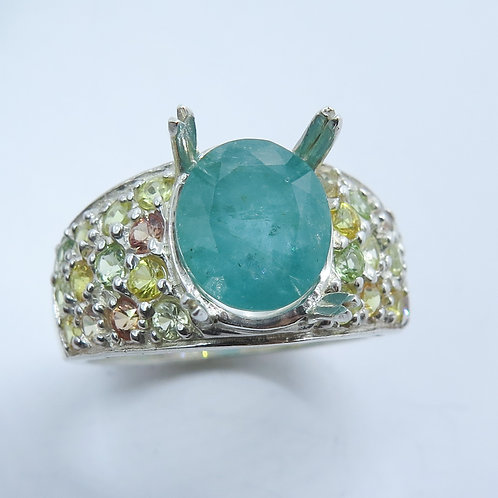 2.4cts Natural Zambian Emerald 925 Silver / Gold/ Platinum ring