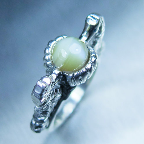 2.35ct Natural chrysoberyl cats eye 925 Silver / Gold/ Platinum seahorse ring