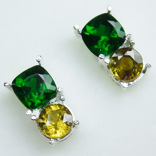Natural Chrome Diopside Silver /Gold / Platinum stud earrings