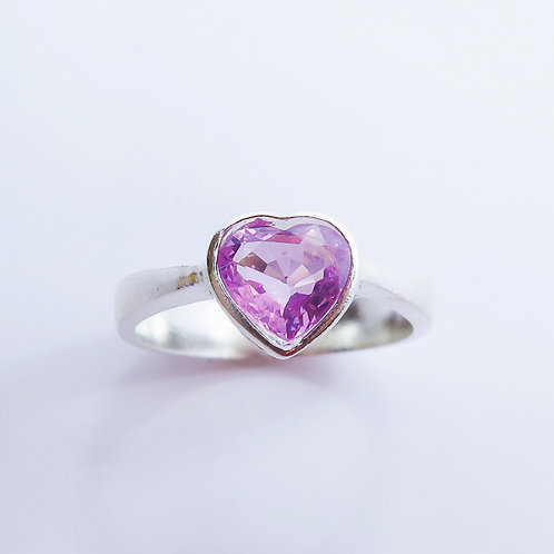 Natural Pink heart Spinel 925 Silver / Gold/ Platinum solitaire ring