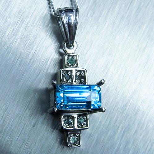 1.2cts Natural Light Blue Zircon Silver / Gold / Platinum pendant
