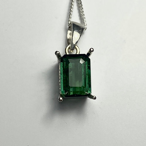 1.7cts Natural Chrome green Tourmaline Silver / Gold / Platinum pendant