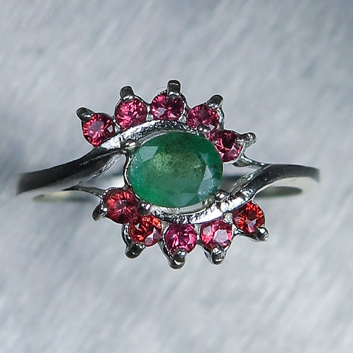 0.4ct Natural Colombian Emerald 925 Silver / Gold/ Platinum unisex ring