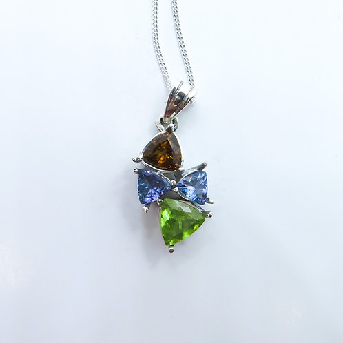 Natural Titanite Sphene &tanzanite Silver / Gold / Platinum pendant