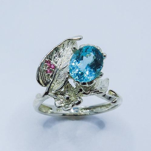 1.6ct Natural Paraiba blue Apatite 925 Silver / Gold/ Platinum floral ring