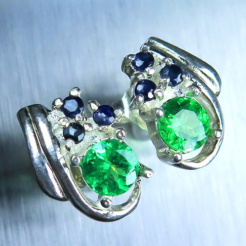 Natural green Tsavorite garnet Silver/ Gold/Platinum stud studs earrings