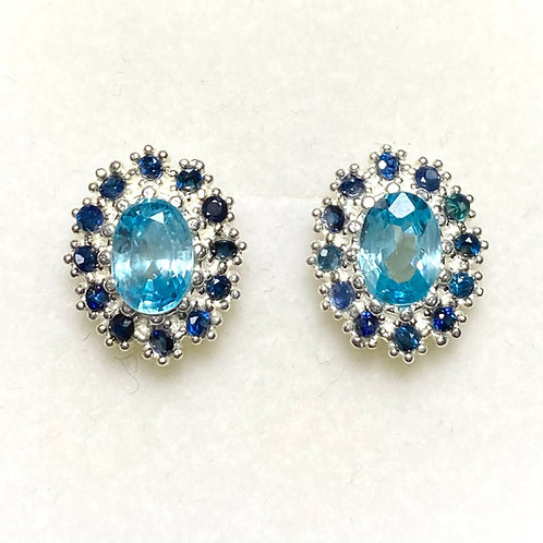2.15ct Natural Paraiba zircon Silver /Gold halo stud earrings cluster