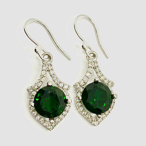 5.9ct Natural Chrome Diopside 925 Silver / Gold/ Platinum drop earrings