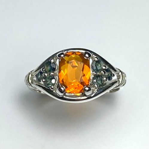 0.7ct Natural fire opal 925 Silver / Gold/ Platinum engagement ring