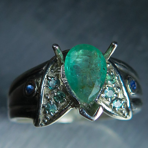 0.65cts Natural green Colombian Emerald 925 Silver / Gold/ Platinum ring