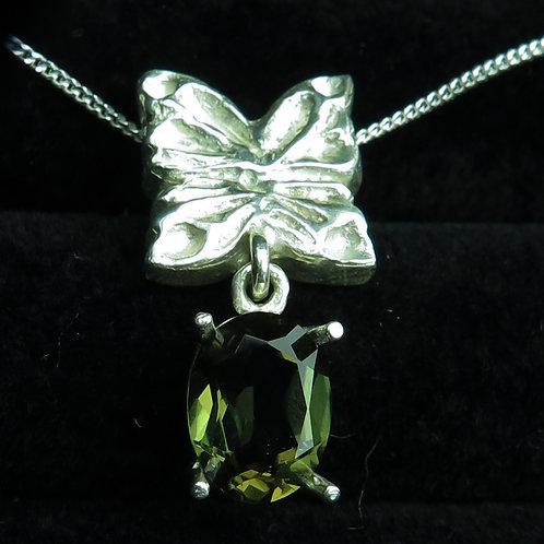 1.2ct Natural Olive Green Kornerupine Silver / Gold / Platinum butterfly pendant