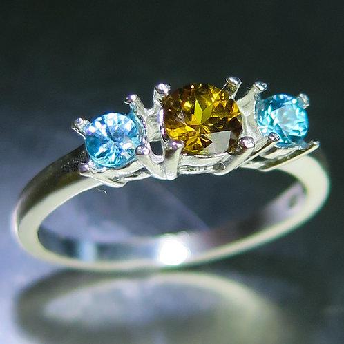 Natural demantoid andradite garnet 925 Silver / Gold/ Platinum ring