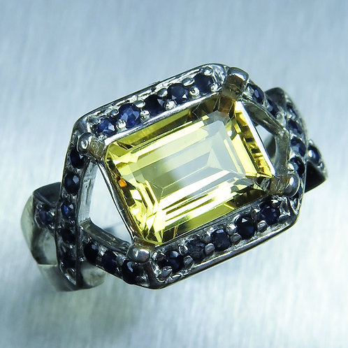 1.95ct Natural Yellow Heliodor Beryl 925 Silver / Gold/ Platinum ring