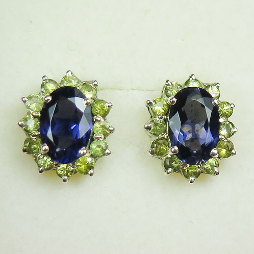 Natural Purple Iolite 9ct .375 white Gold studs earrings