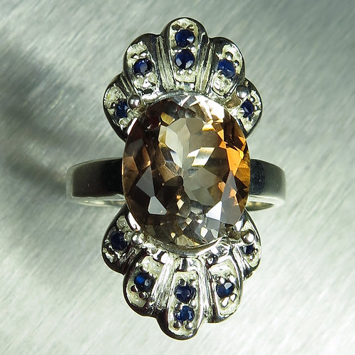 5.8cts Natural Imperial Topaz 925 Silver / Gold/ Platinum ring