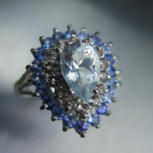Natural Aqua blue Aquamarine 925 Silver / Gold/ Platinum ring