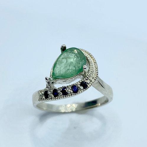 0.8cts Natural Green Emerald 925 Silver / Gold/ Platinum ring