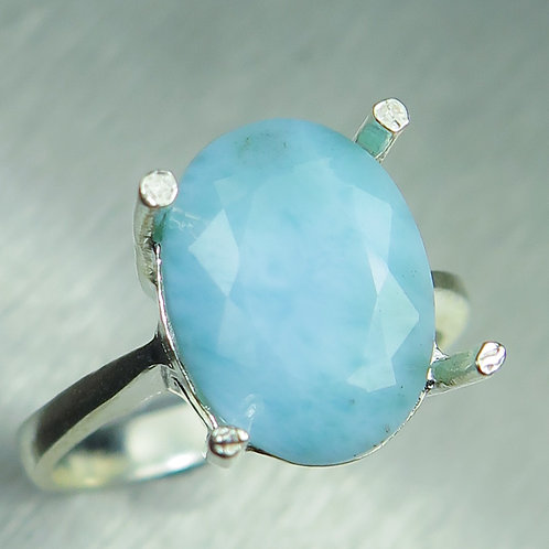 5.1ct Natural lagoon blue Larimar 925 Silver / Gold/ Platinum ring