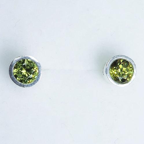 0.85cts Natural Demantoid Garnet Silver /Gold stud earrings