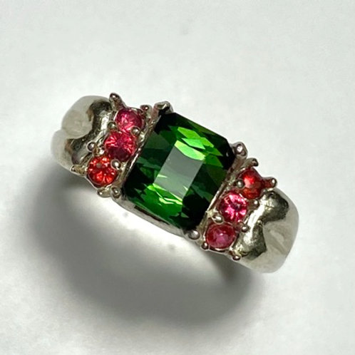 2ct Natural Chrome Green tourmaline 925 Silver / Gold/ solitaire ring