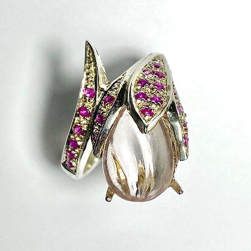 4cts Natural Morganite 925 Silver / Gold/ Platinum ring