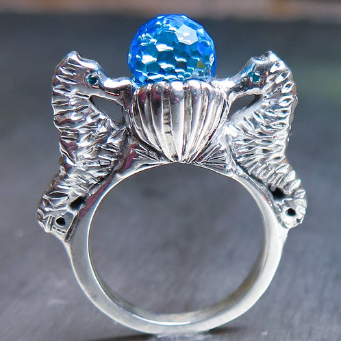 3.35ct Natural Swiss Blue Topaz 925 Silver / Gold/ Platinum seahorse ring