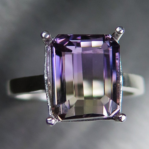 6.40cts Natural Bi-colour Ametrine 925 Silver / Gold/ Platinum ring