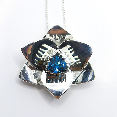 Natural London Blue Topaz Silver / Gold / Platinum orchid pendant on chain