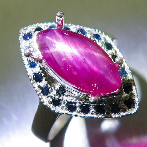 4.30cts Red star ruby Silver/ Gold / Platinum ring