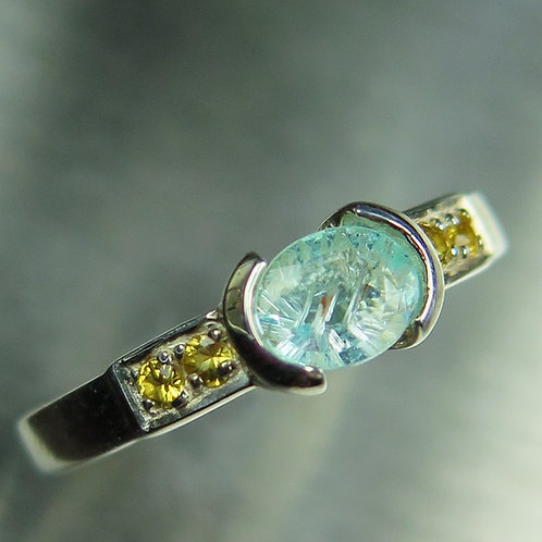 0.5cts Natural paraiba blue tourmaline 925 Silver / Gold/ Platinum ring