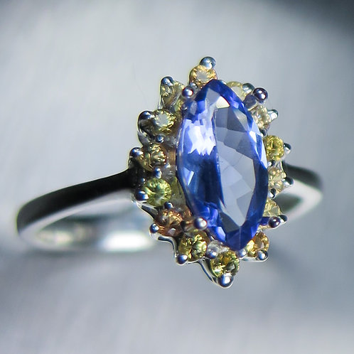 1.15cts Natural purple blue Tanzanite 925 Silver / Gold/ Platinum ring