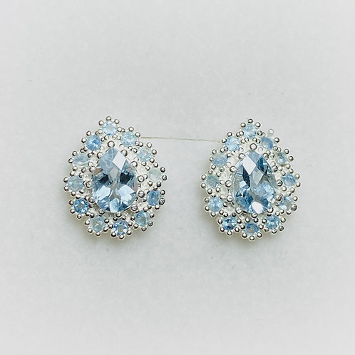 Natural Aquamarine Silver /Gold / Platinum earrings studs halo cluster