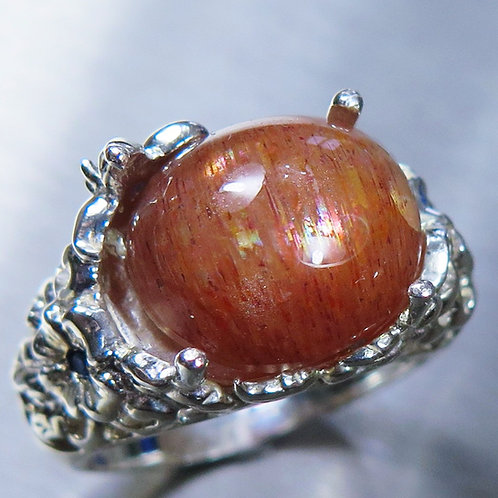 9ct Natural Cats eye Sunstone 925 Silver / Gold/ Platinum ring