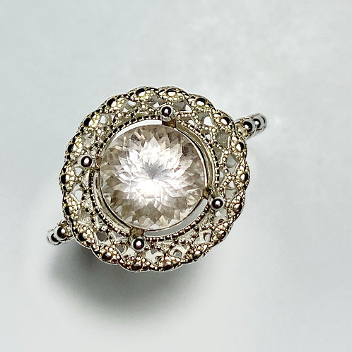 2.1cts Natural light pink morganite Silver/ Gold /Platinum ring