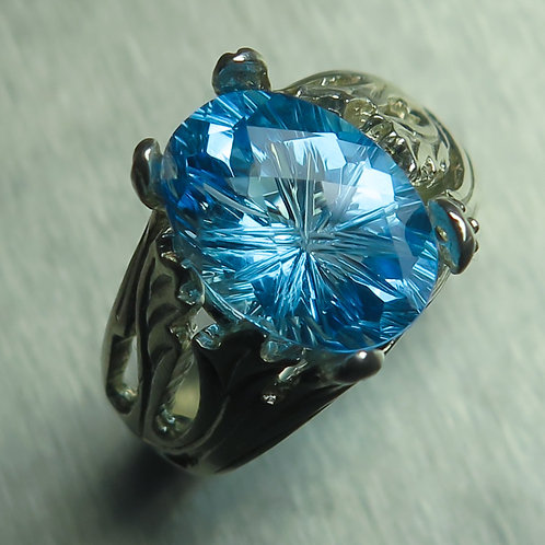 5.9ct Natural Swiss Blue Topaz 925 Silver / Gold/ Platinum ring
