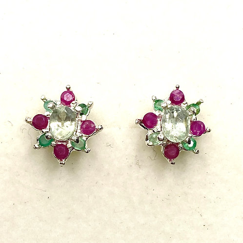 0.8cts Natural colour change Alexandrite 925 Sterling Silver stud earrings