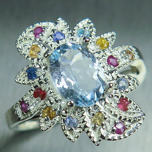 1.2cts Natural light aqua blue Aquamarine 925 Silver / Gold/ Platinum ring