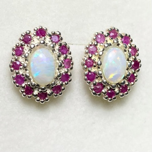 Natural Australian white Opal 925 Silver/ Gold /Platinum earrings