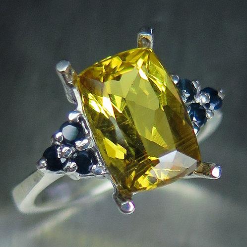 3ct Natural Yellow Heliodor Beryl 925 Silver / Gold/ Platinum ring