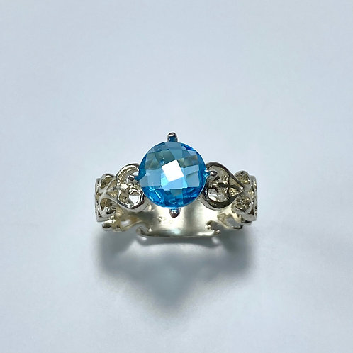 2.1ct Natural Swiss Blue Topaz 925 Silver / Gold/ Platinum ring