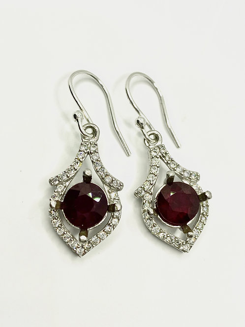 4.9cts Natural Ruby Silver/ Gold/Platinum drop earrings