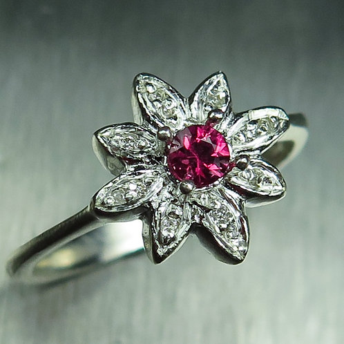 0.15ct Natural Red Spinel & diamond 925 Silver / Gold/ Platinum solitaire ring
