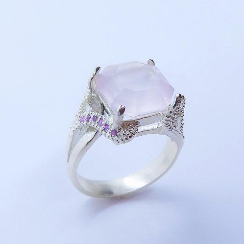 6.8ct Natural rose pink quartz 925 Silver / Gold/ Platinum solitaire ri