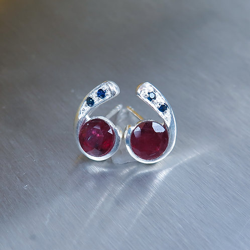 2.45ct Natural red ruby Silver /Gold stud earrings