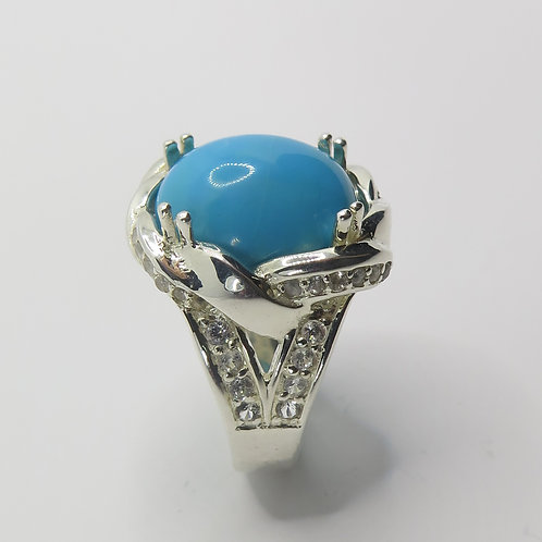 8cts Natural Turquoise 925 Silver/ Gold/ Platinum ring